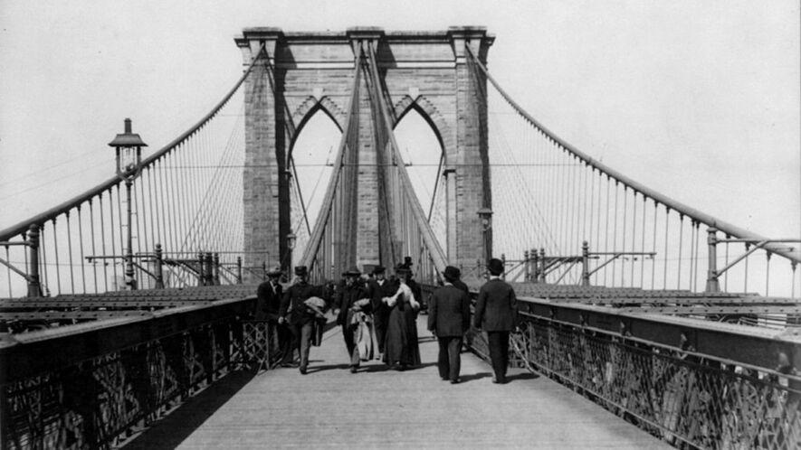 Newsela time machine 1883 brooklyn bridge connects new york the pedestrian crossing of the brooklyn bridge in new york city 1898 malvernweather Choice Image