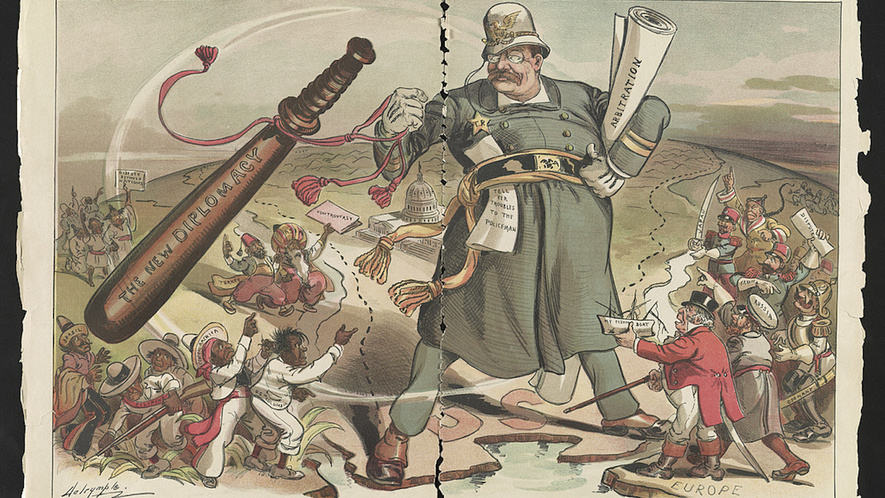 Image result for political cartoons about theodore roosevelt's aggressive in latin America