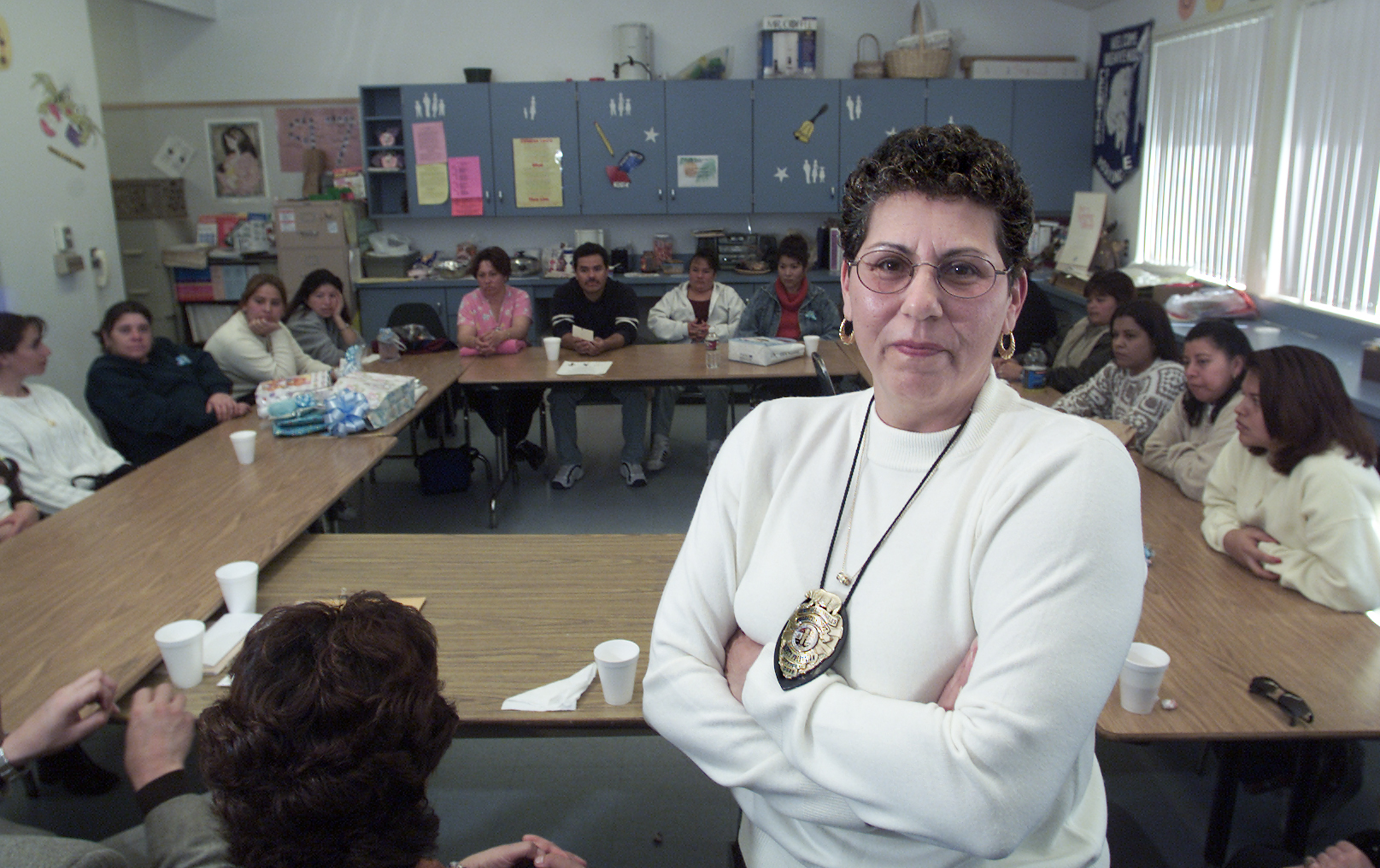 Deputy County Probation Officer Lillian Cosme (center) In Front Of A Weekly  Meeting Of