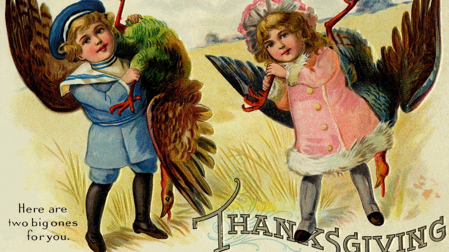 vintage postcard was mailed for Thanksgiving around 1900