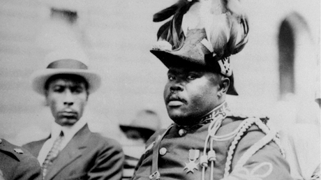 the civil rights movement black nationalist marcus garvey is shown in a military uniform as the provisional president of