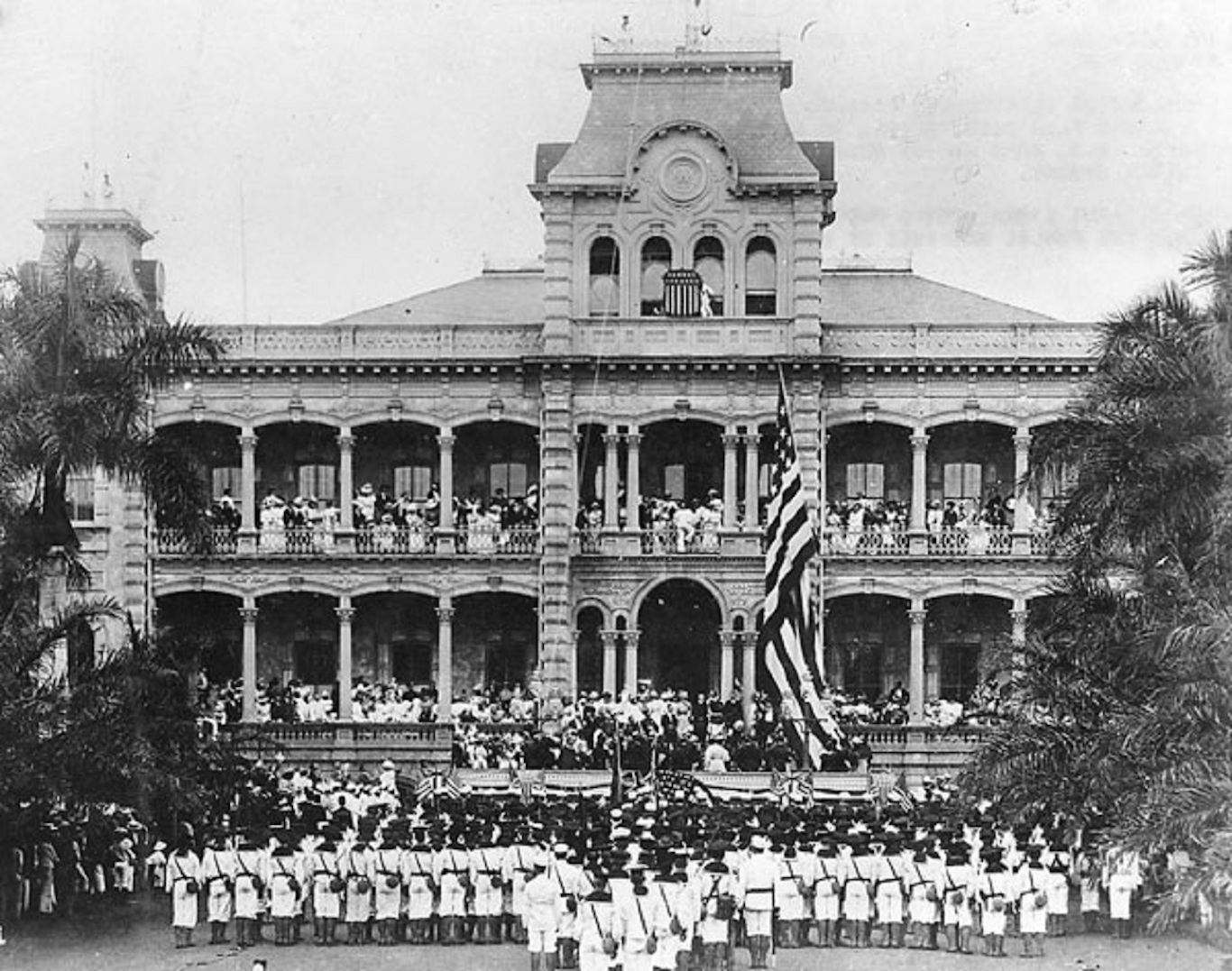 Raising of the American flag at the royal Iolani Palace, Honolulu, Hawaii,  August