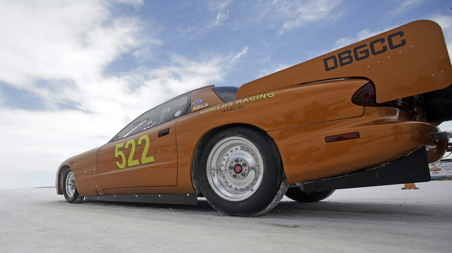 A vehicle waits to start a time trial at the Bonneville Salt Flats in Utah, where insane speed records are made and broken. Photo by: Rick Bowmer/AP Photo